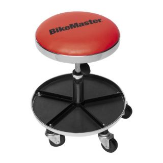 """BikeMaster Ultimate Shop Stool with Tool Caddy Red, Height 17- 1/2"""" to 22"""""""