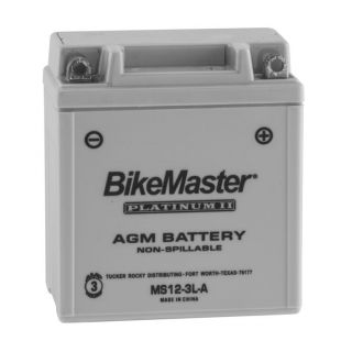 BikeMaster AGM Platinum II Batteries for Street MS12-3L-A Battery, 12V Battery, 98mm L x 56mm W x 109mm H